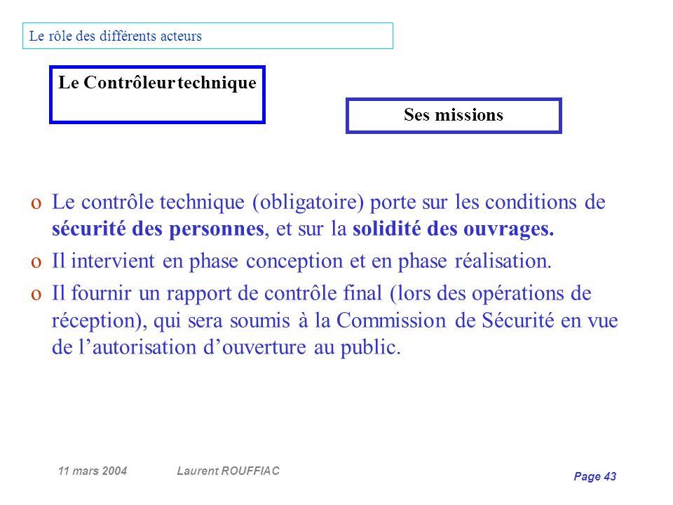 11 mars 2004Laurent ROUFFIAC Page 43 Le rôle des différents acteurs oLe contrôle technique (obligatoire) porte sur les conditions de sécurité des pers