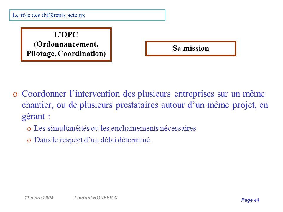 11 mars 2004Laurent ROUFFIAC Page 44 Le rôle des différents acteurs oCoordonner lintervention des plusieurs entreprises sur un même chantier, ou de pl