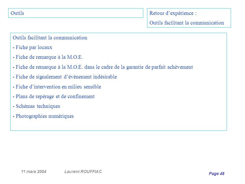 11 mars 2004Laurent ROUFFIAC Page 48 Outils facilitant la communication - Fiche par locaux - Fiche de remarque à la M.O.E. - Fiche de remarque à la M.