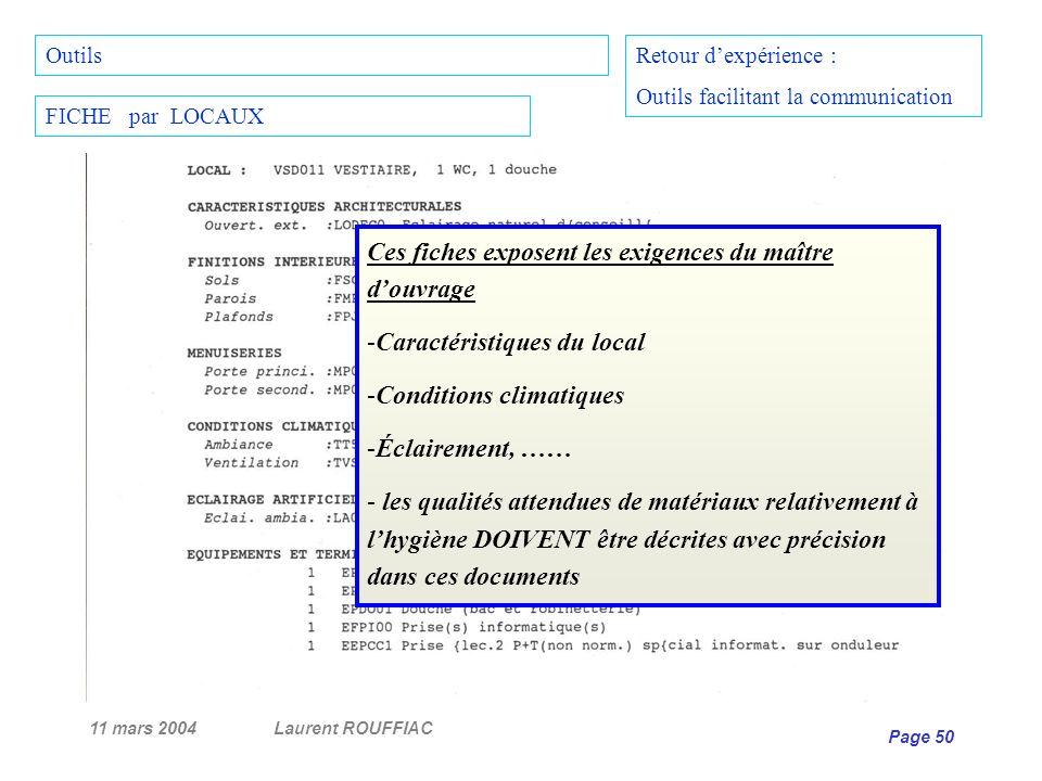 11 mars 2004Laurent ROUFFIAC Page 50 Retour dexpérience : Outils facilitant la communication FICHE par LOCAUX Outils Ces fiches exposent les exigences