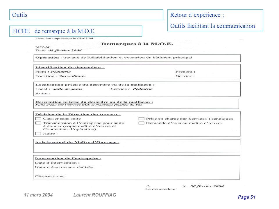 11 mars 2004Laurent ROUFFIAC Page 51 Retour dexpérience : Outils facilitant la communication FICHE de remarque à la M.O.E. Outils
