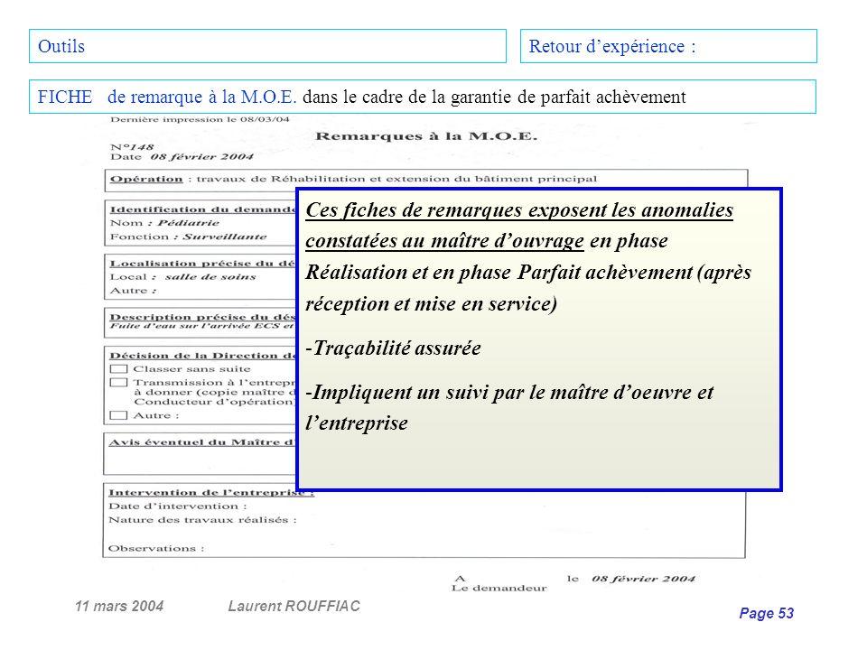 11 mars 2004Laurent ROUFFIAC Page 53 Retour dexpérience : FICHE de remarque à la M.O.E. dans le cadre de la garantie de parfait achèvement Outils Ces