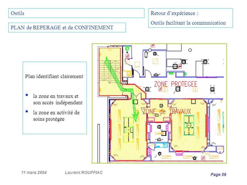 11 mars 2004Laurent ROUFFIAC Page 59 Retour dexpérience : Outils facilitant la communication PLAN de REPERAGE et de CONFINEMENT Plan identifiant clair