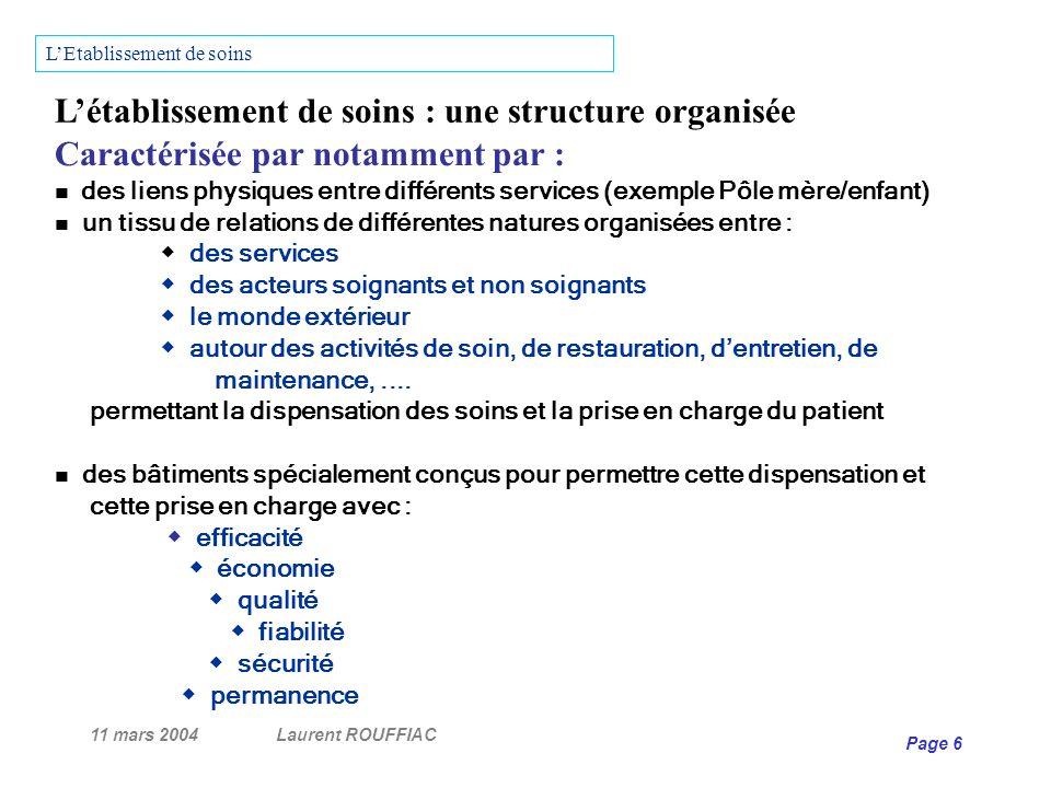 11 mars 2004Laurent ROUFFIAC Page 27 PROGRAMME PROGRAMMISTE Utilisateurs Phases de lopération de travaux PROGRAMMATION Usagers Financiers Techniciens E.O.H.
