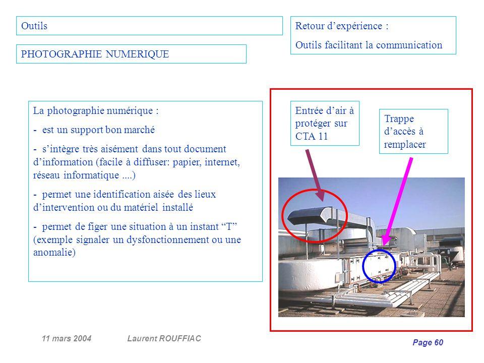 11 mars 2004Laurent ROUFFIAC Page 60 Retour dexpérience : Outils facilitant la communication PHOTOGRAPHIE NUMERIQUE La photographie numérique : - est