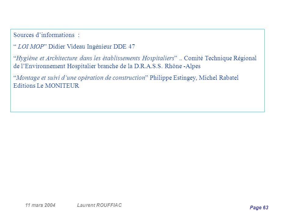 11 mars 2004Laurent ROUFFIAC Page 63 Sources dinformations : LOI MOP Didier Videau Ingénieur DDE 47 Hygiène et Architecture dans les établissements Ho