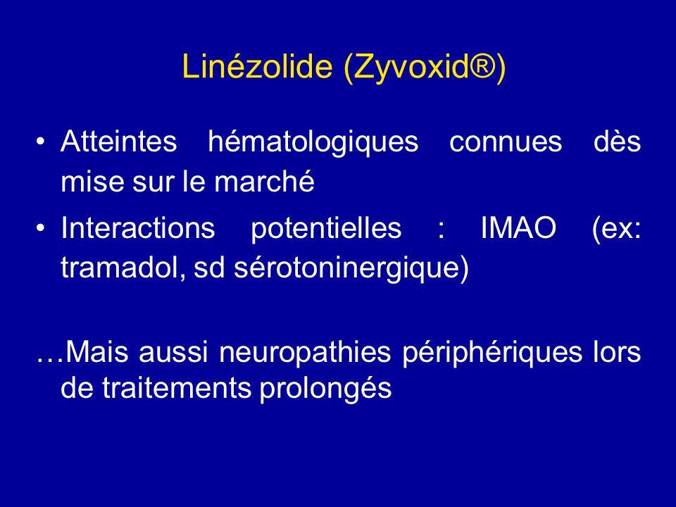 Linézolide (Zyvoxid®) Atteintes hématologiques connues dès mise sur le marché Interactions potentielles : IMAO (ex: tramadol, sd sérotoninergique) …Ma