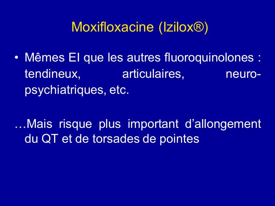Moxifloxacine (Izilox®) Mêmes EI que les autres fluoroquinolones : tendineux, articulaires, neuro- psychiatriques, etc. …Mais risque plus important da