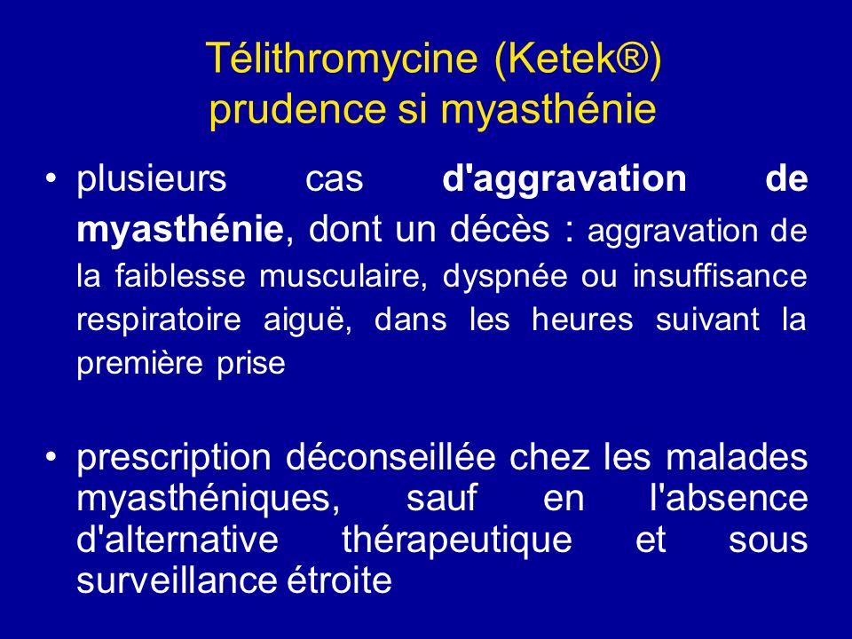 Télithromycine (Ketek®) prudence si myasthénie plusieurs cas d'aggravation de myasthénie, dont un décès : aggravation de la faiblesse musculaire, dysp