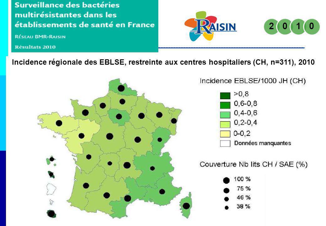 Incidence régionale des EBLSE, restreinte aux centres hospitaliers (CH, n=311), 2010