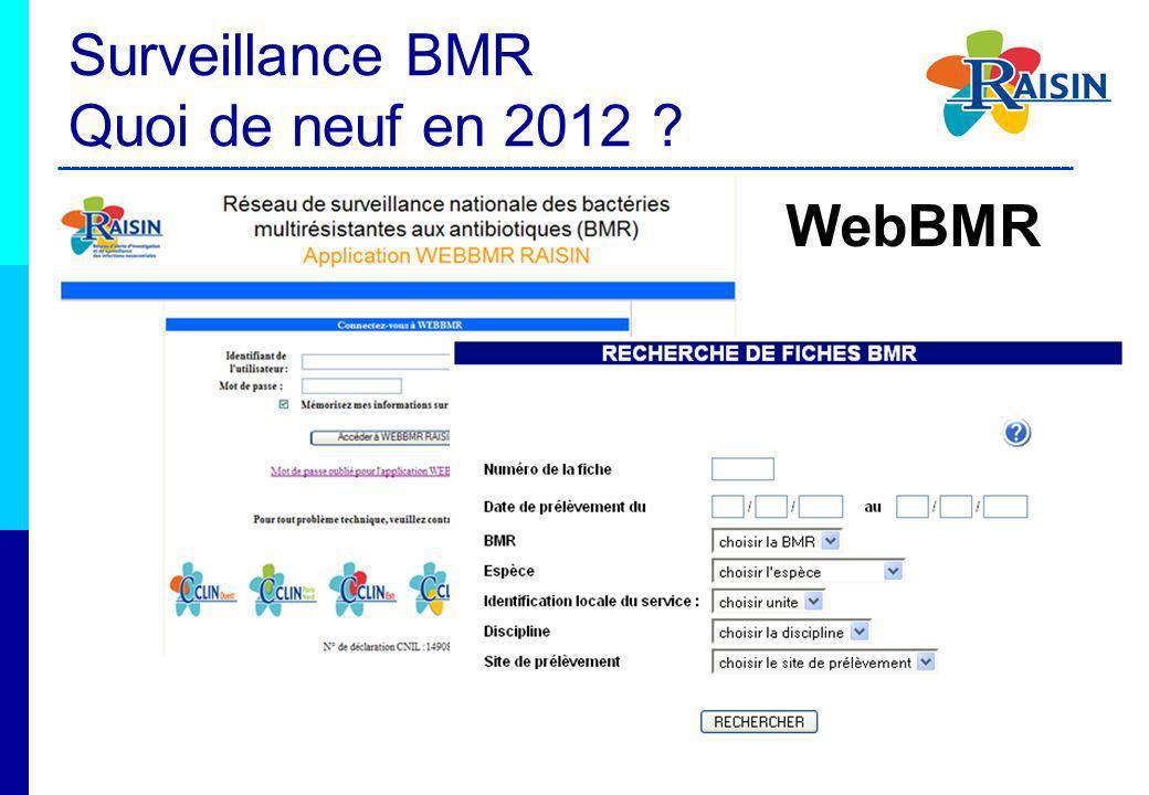 WebBMR Surveillance BMR Quoi de neuf en 2012 ?