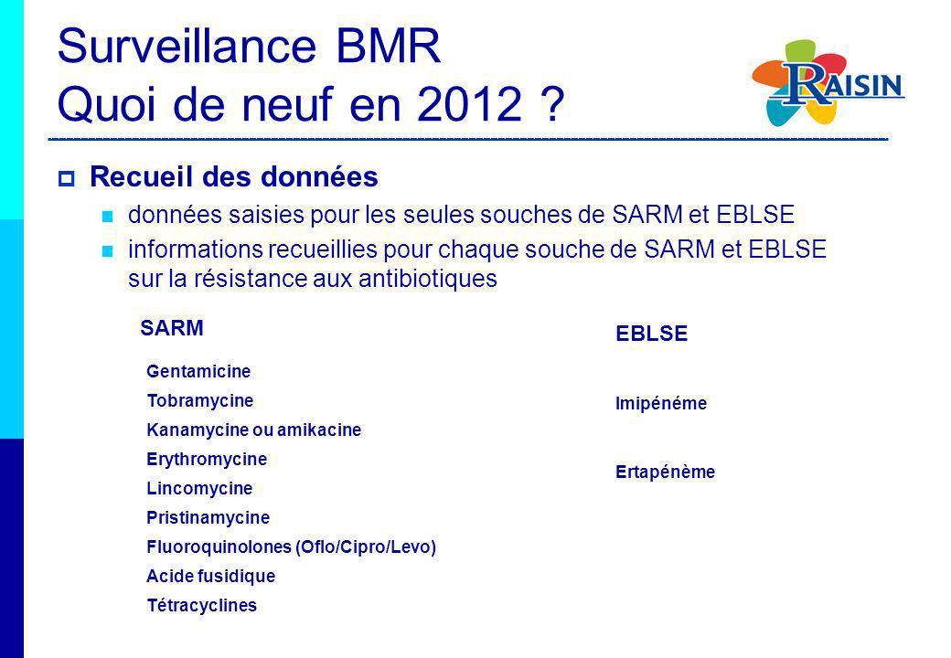 Recueil des données données saisies pour les seules souches de SARM et EBLSE informations recueillies pour chaque souche de SARM et EBLSE sur la résis
