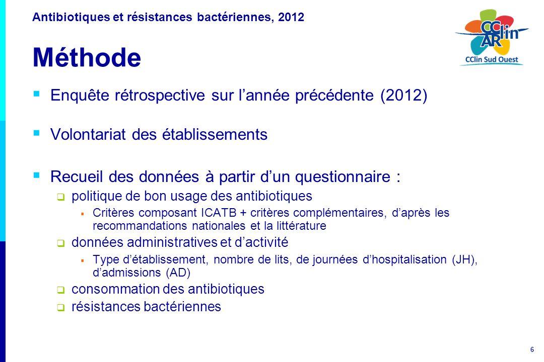 7 Antibiotiques et résistances bactériennes, 2012 Méthode Consommation en antibiotiques, 2012 Antibiotiques à visée systémique classification ATC J01 + rifampicine (J04AB02) + imidazolés per os (P01AB) dispensés par la PUI en 2012 En hospitalisation complète sur lensemble de létablissement et dans chacun des secteurs dactivité (optionnel) exclusion : rétrocession, HDJ et de nuit, séances, hébergement, UCSA Etablissements non concernés : HAD, MECSS, dialyse, EHPAD Analyse : en nombre de Doses Définies Journalières (DDJ) pour 1000 JH (unité définie par lOMS http://www.whocc.no/) et pour 100 ADhttp://www.whocc.no/ présentation des taux globaux et des distributions