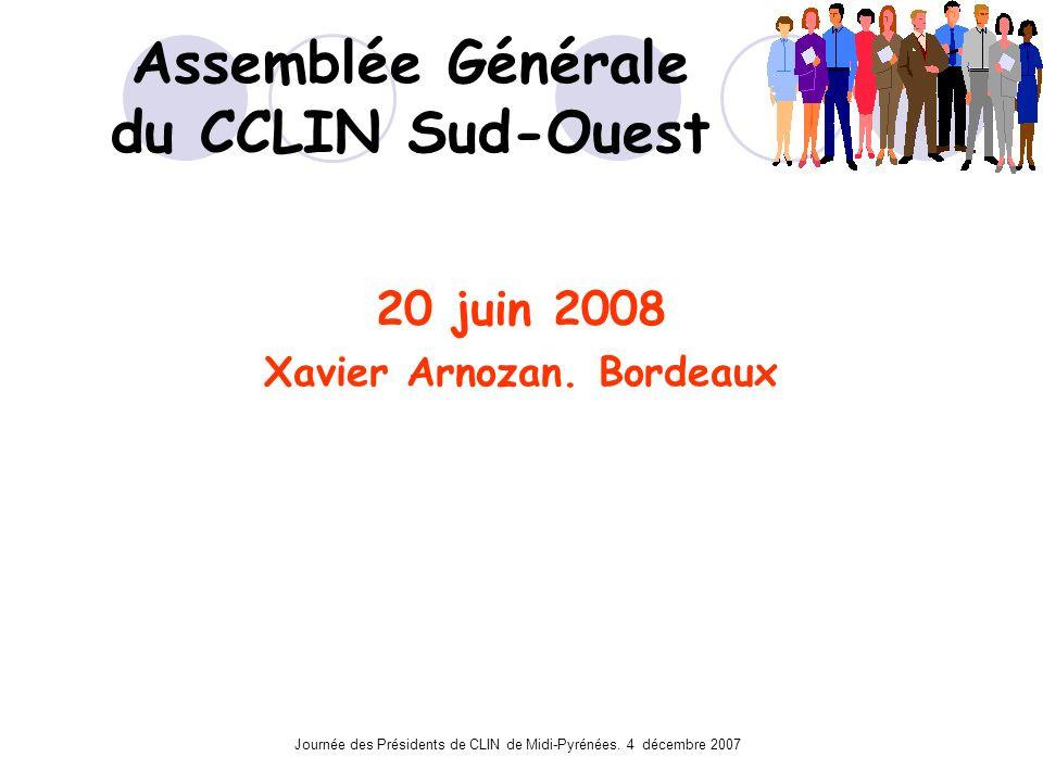 Journée des Présidents de CLIN de Midi-Pyrénées. 4 décembre 2007 Assemblée Générale du CCLIN Sud-Ouest 20 juin 2008 Xavier Arnozan. Bordeaux