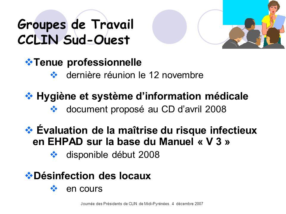 Journée des Présidents de CLIN de Midi-Pyrénées. 4 décembre 2007 Groupes de Travail CCLIN Sud-Ouest Tenue professionnelle dernière réunion le 12 novem