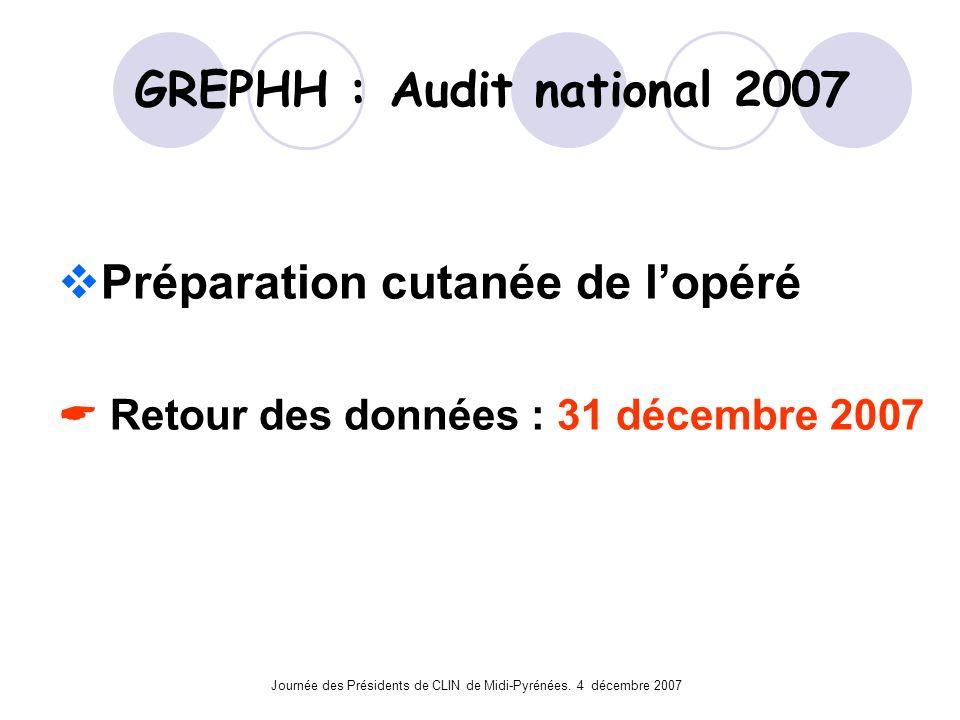 Journée des Présidents de CLIN de Midi-Pyrénées. 4 décembre 2007 GREPHH : Audit national 2007 Préparation cutanée de lopéré Retour des données : 31 dé