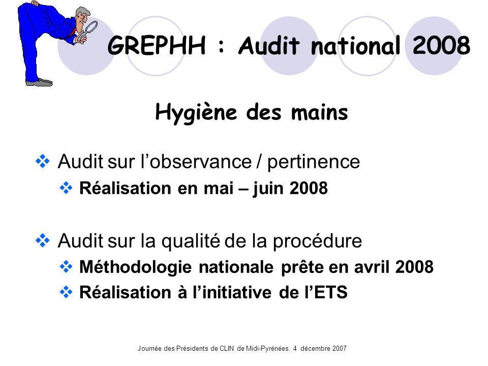 Journée des Présidents de CLIN de Midi-Pyrénées. 4 décembre 2007 GREPHH : Audit national 2008 Hygiène des mains Audit sur lobservance / pertinence Réa