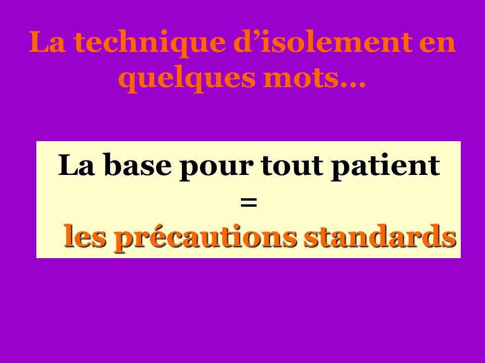 La base pour tout patient = les précautions standards La technique disolement en quelques mots…