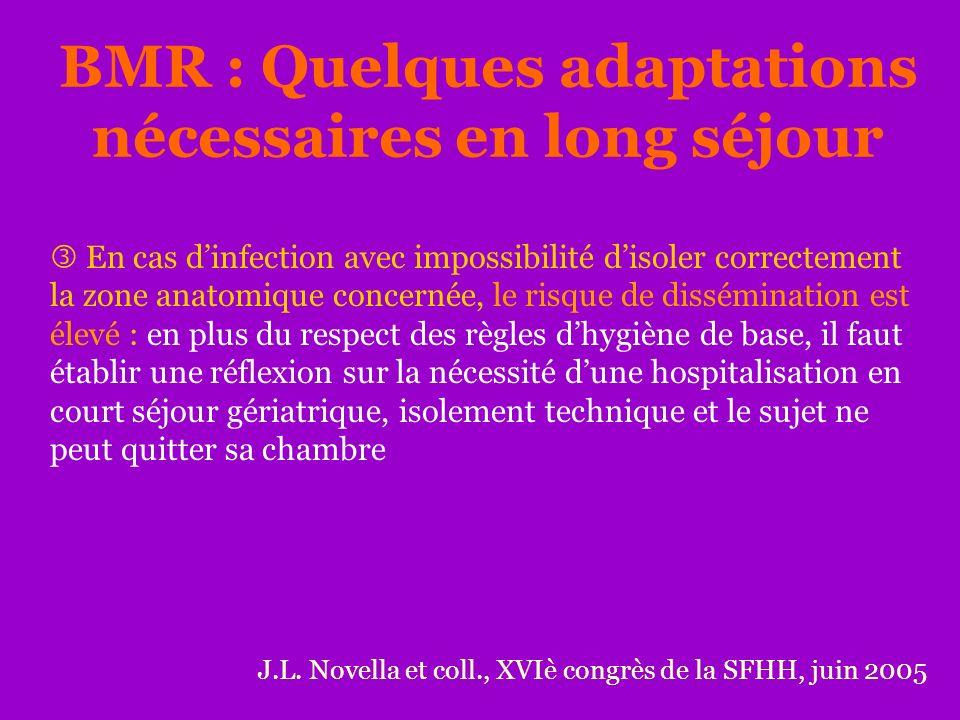 BMR : Quelques adaptations nécessaires en long séjour J.L. Novella et coll., XVIè congrès de la SFHH, juin 2005 En cas dinfection avec impossibilité d