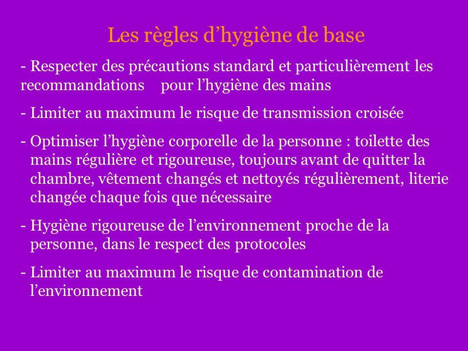 Les règles dhygiène de base - Respecter des précautions standard et particulièrement les recommandations pour lhygiène des mains - Limiter au maximum