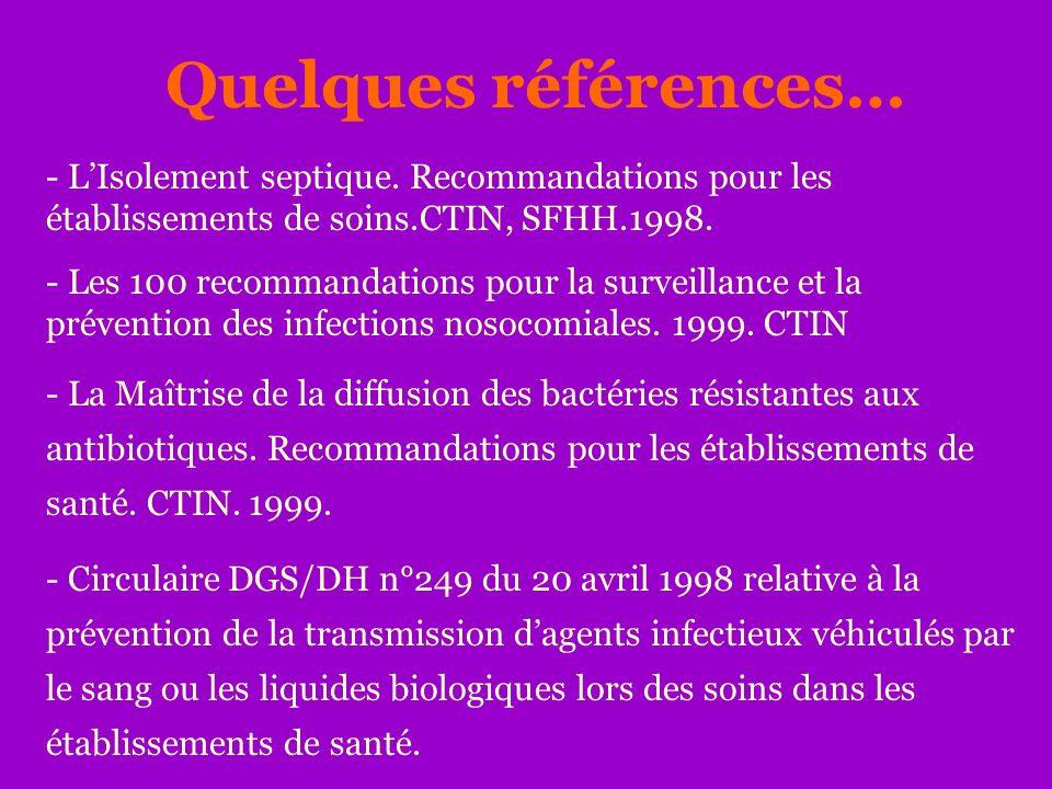 Quelques références… - LIsolement septique. Recommandations pour les établissements de soins.CTIN, SFHH.1998. - Les 100 recommandations pour la survei