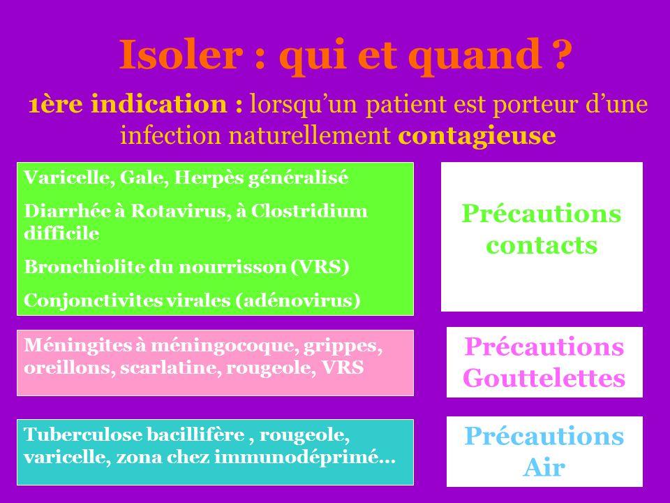 Isoler : qui et quand ? 1ère indication : lorsquun patient est porteur dune infection naturellement contagieuse Varicelle, Gale, Herpès généralisé Dia