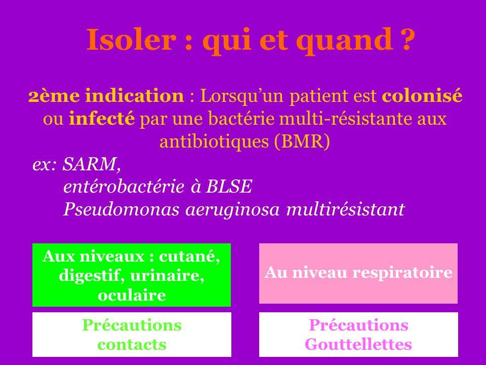 Isoler : qui et quand ? 2ème indication : Lorsquun patient est colonisé ou infecté par une bactérie multi-résistante aux antibiotiques (BMR) ex: SARM,