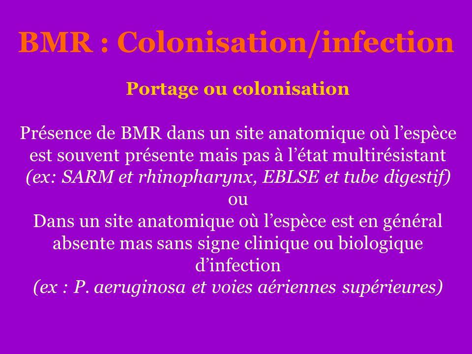 Portage ou colonisation Présence de BMR dans un site anatomique où lespèce est souvent présente mais pas à létat multirésistant (ex: SARM et rhinophar