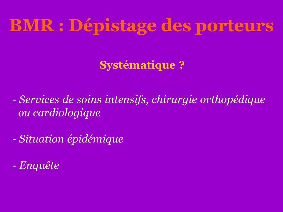 - Services de soins intensifs, chirurgie orthopédique ou cardiologique - Situation épidémique - Enquête BMR : Dépistage des porteurs Systématique ?