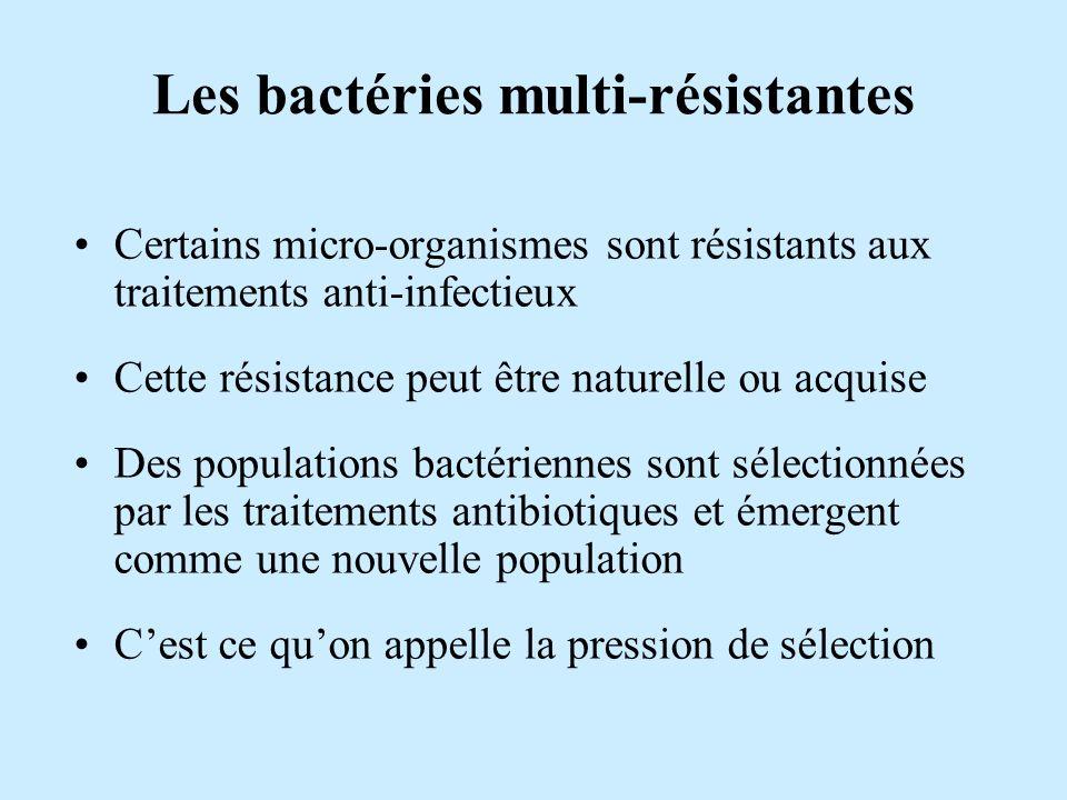 Les bactéries multi-résistantes Certains micro-organismes sont résistants aux traitements anti-infectieux Cette résistance peut être naturelle ou acqu