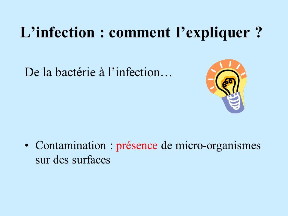 Linfection : comment lexpliquer ? De la bactérie à linfection… Contamination : présence de micro-organismes sur des surfaces
