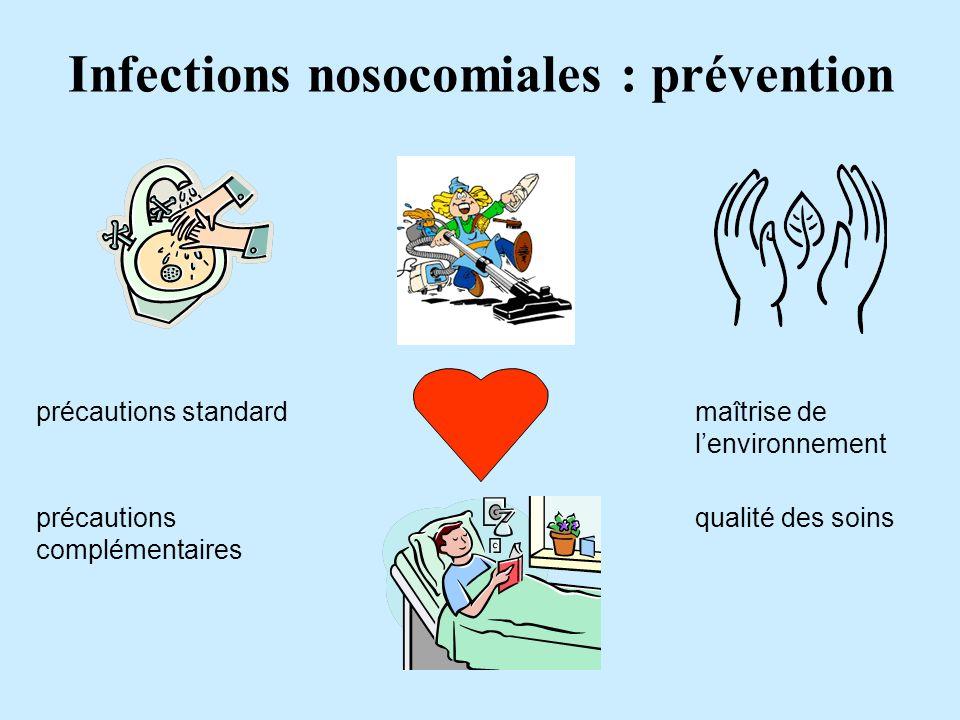 Infections nosocomiales : prévention précautions standard précautions complémentaires maîtrise de lenvironnement qualité des soins