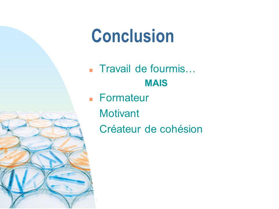 Conclusion n Travail de fourmis… MAIS n Formateur n Motivant n Créateur de cohésion