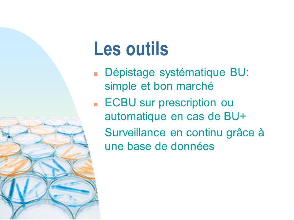 Les outils n Dépistage systématique BU: simple et bon marché n ECBU sur prescription ou automatique en cas de BU+ n Surveillance en continu grâce à un
