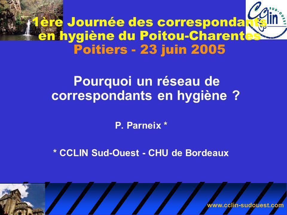 www.cclin-sudouest.com Pourquoi un réseau de correspondants en hygiène ? P. Parneix * * CCLIN Sud-Ouest - CHU de Bordeaux 1ère Journée des corresponda