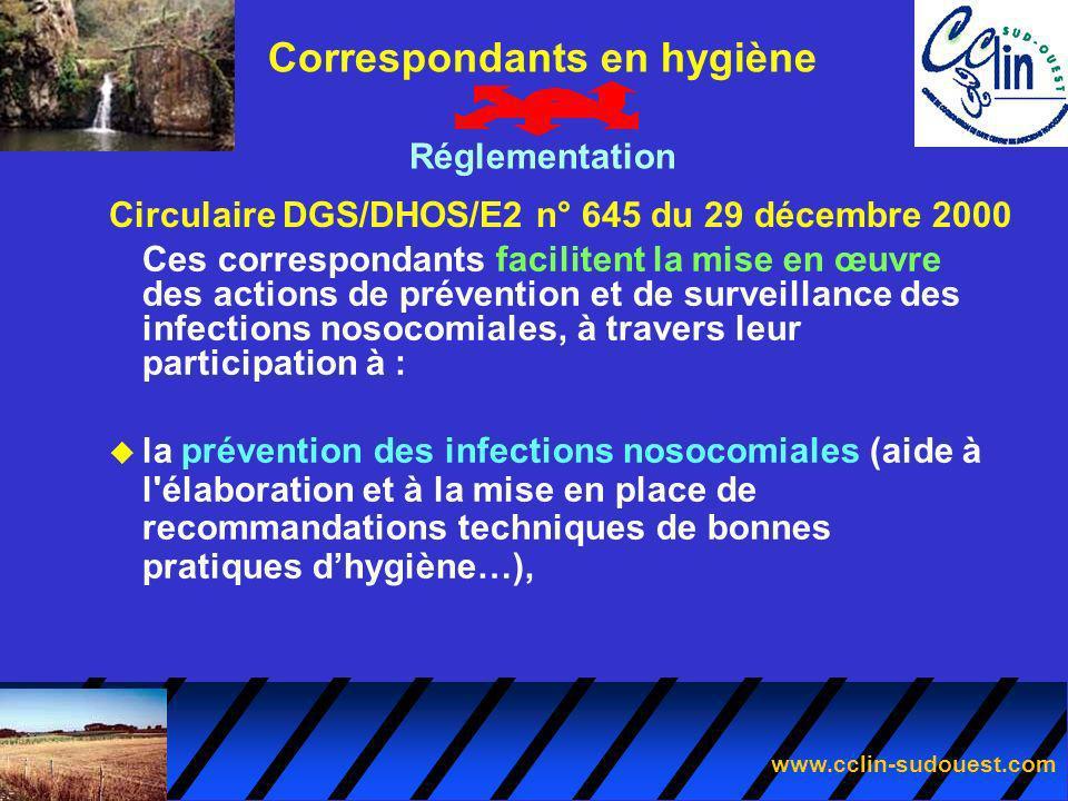 www.cclin-sudouest.com Circulaire DGS/DHOS/E2 n° 645 du 29 décembre 2000 Correspondants en hygiène Réglementation Ces correspondants facilitent la mis