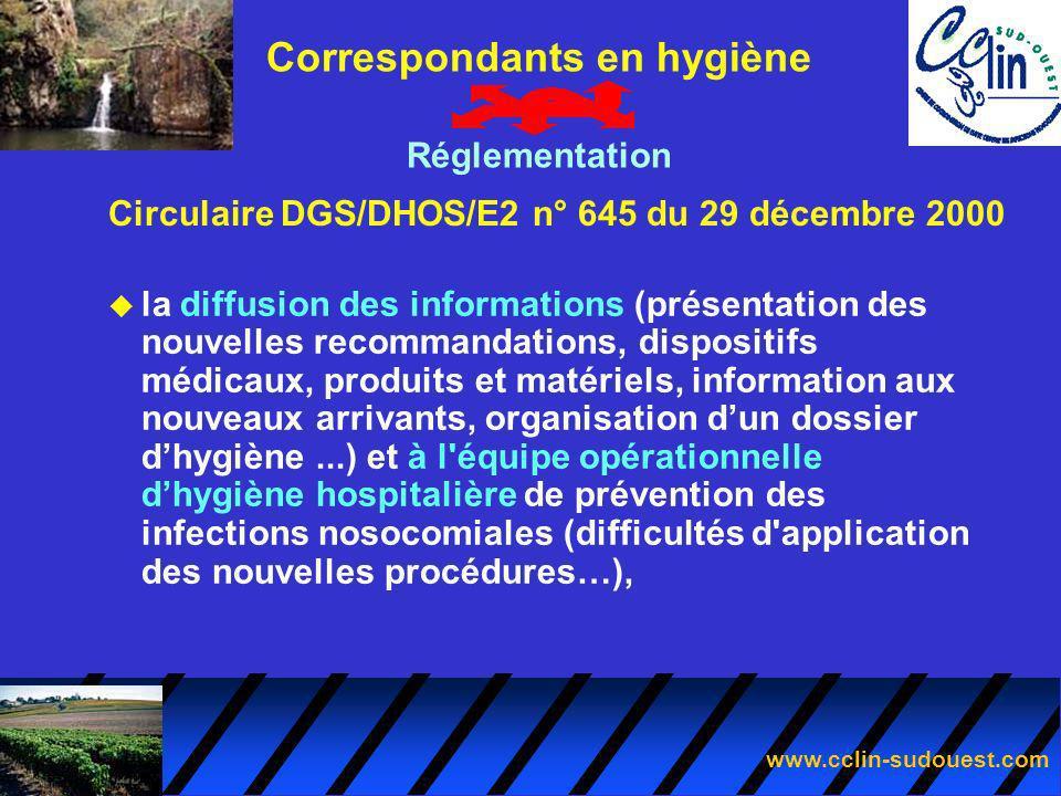 www.cclin-sudouest.com Circulaire DGS/DHOS/E2 n° 645 du 29 décembre 2000 Correspondants en hygiène Réglementation u la diffusion des informations (pré