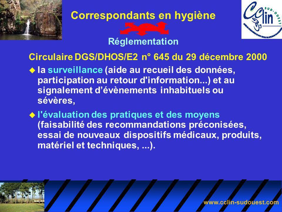 www.cclin-sudouest.com Circulaire DGS/DHOS/E2 n° 645 du 29 décembre 2000 Correspondants en hygiène Réglementation u la surveillance (aide au recueil d