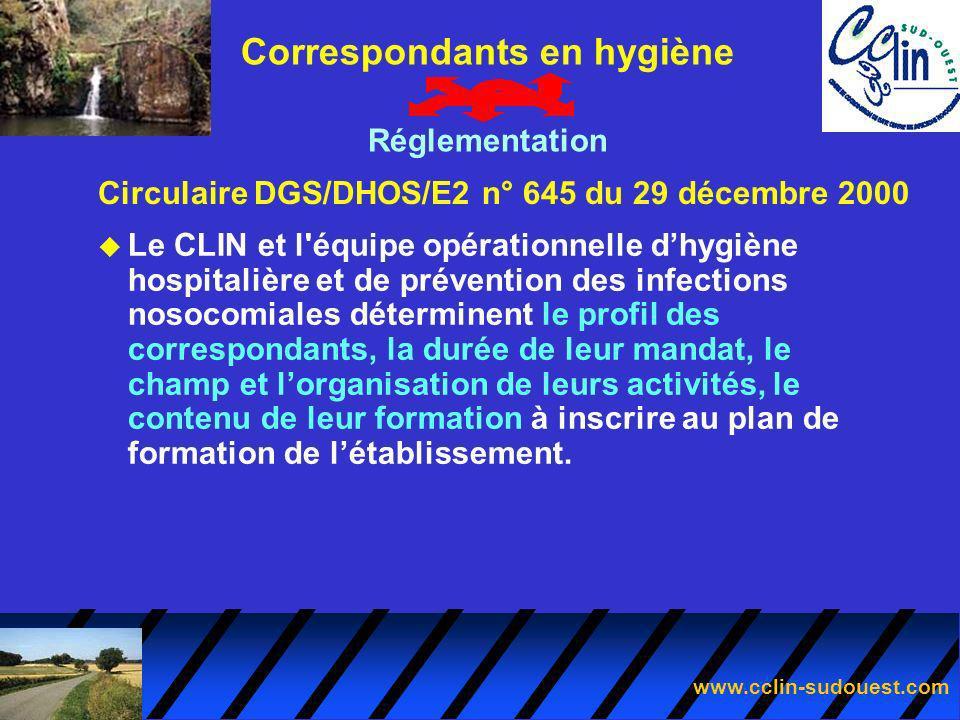 www.cclin-sudouest.com Circulaire DGS/DHOS/E2 n° 645 du 29 décembre 2000 Correspondants en hygiène Réglementation u Le CLIN et l'équipe opérationnelle