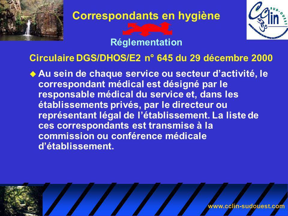 www.cclin-sudouest.com Circulaire DGS/DHOS/E2 n° 645 du 29 décembre 2000 Correspondants en hygiène Réglementation u Au sein de chaque service ou secte