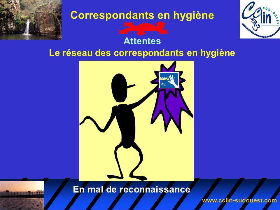 www.cclin-sudouest.com Le réseau des correspondants en hygiène Correspondants en hygiène Attentes En mal de reconnaissance