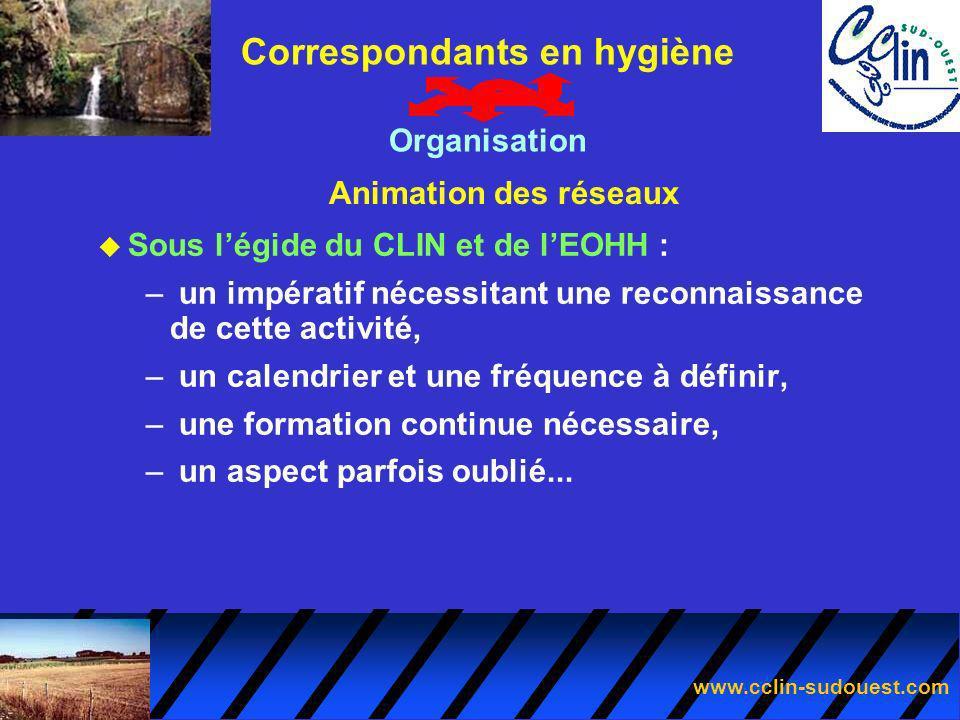 www.cclin-sudouest.com Animation des réseaux Correspondants en hygiène Organisation u Sous légide du CLIN et de lEOHH : – un impératif nécessitant une