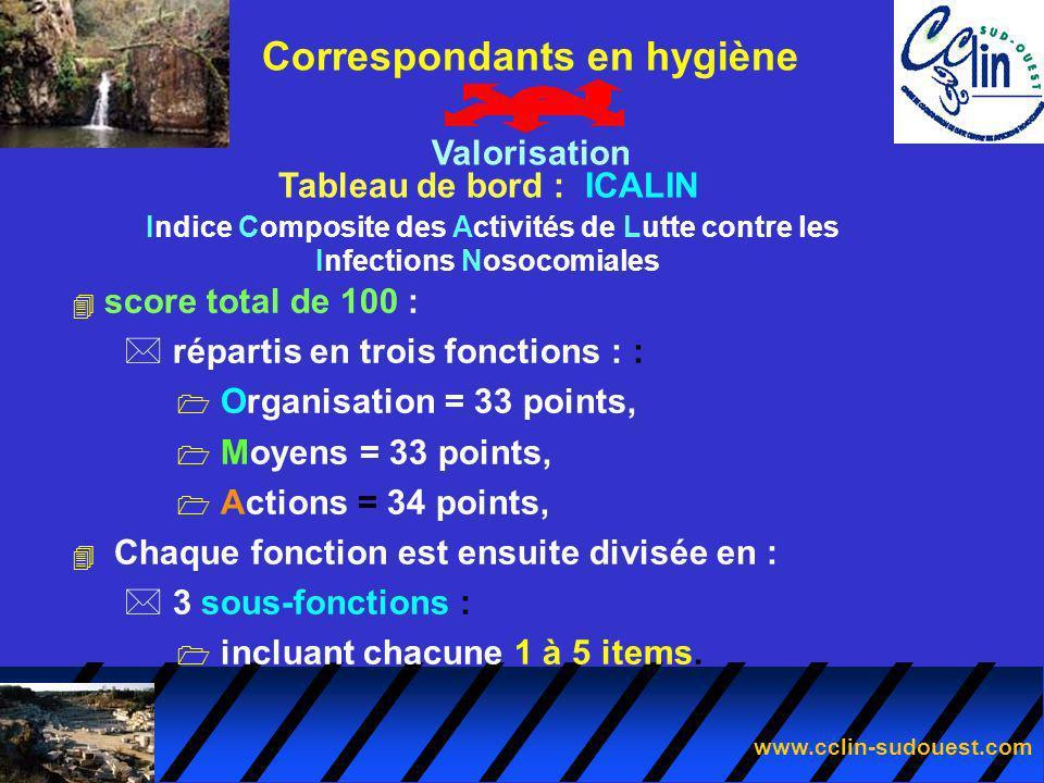 www.cclin-sudouest.com 4 score total de 100 : * répartis en trois fonctions : : 1 Organisation = 33 points, 1 Moyens = 33 points, 1 Actions = 34 point