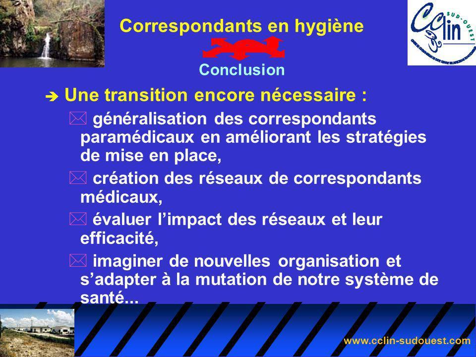 www.cclin-sudouest.com è Une transition encore nécessaire : * généralisation des correspondants paramédicaux en améliorant les stratégies de mise en p