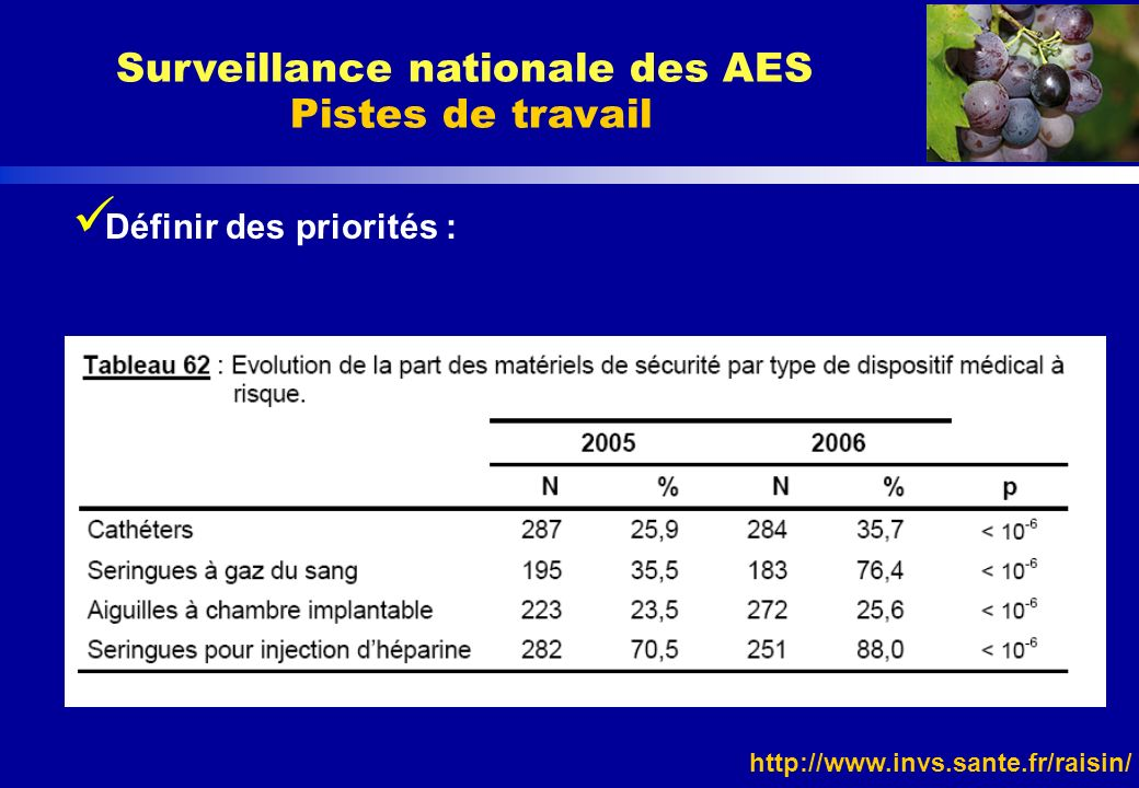 http://www.invs.sante.fr/raisin/ Définir des priorités : Surveillance nationale des AES Pistes de travail