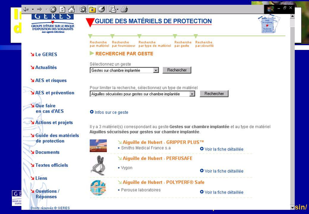 http://www.invs.sante.fr/raisin/ Impact des matériels de sécurité dans la prévention des AES http://www.geres.org/