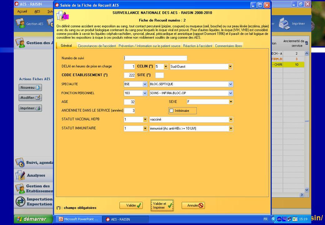 http://www.invs.sante.fr/raisin/ Surveillance nationale des AES Outils