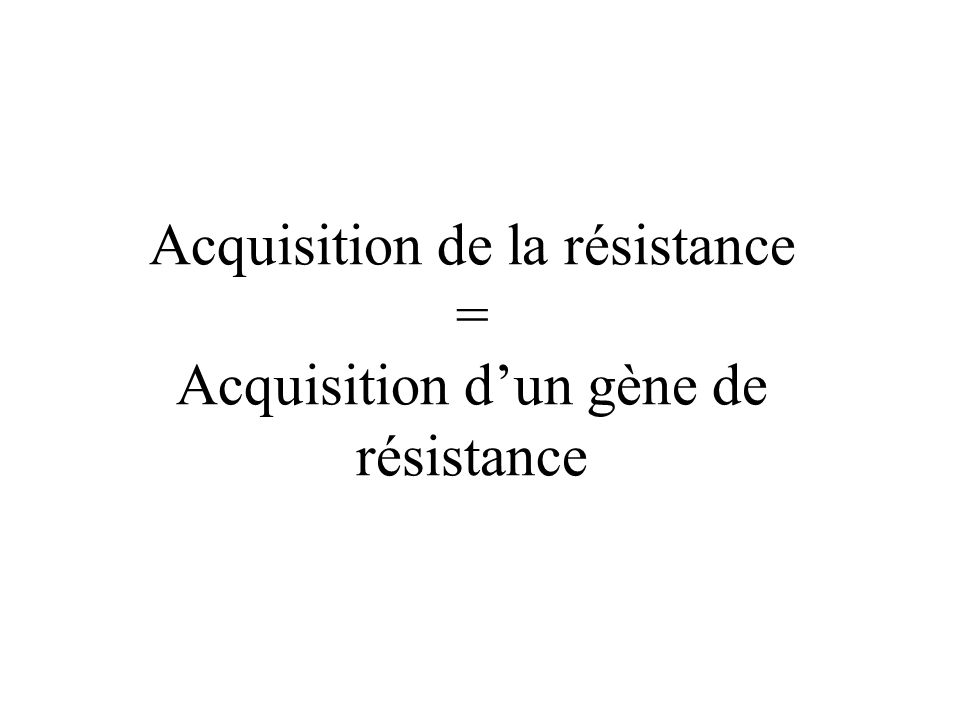 Acquisition de la résistance = Acquisition dun gène de résistance