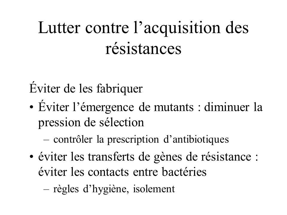 Lutter contre lacquisition des résistances Éviter de les fabriquer Éviter lémergence de mutants : diminuer la pression de sélection – contrôler la pre