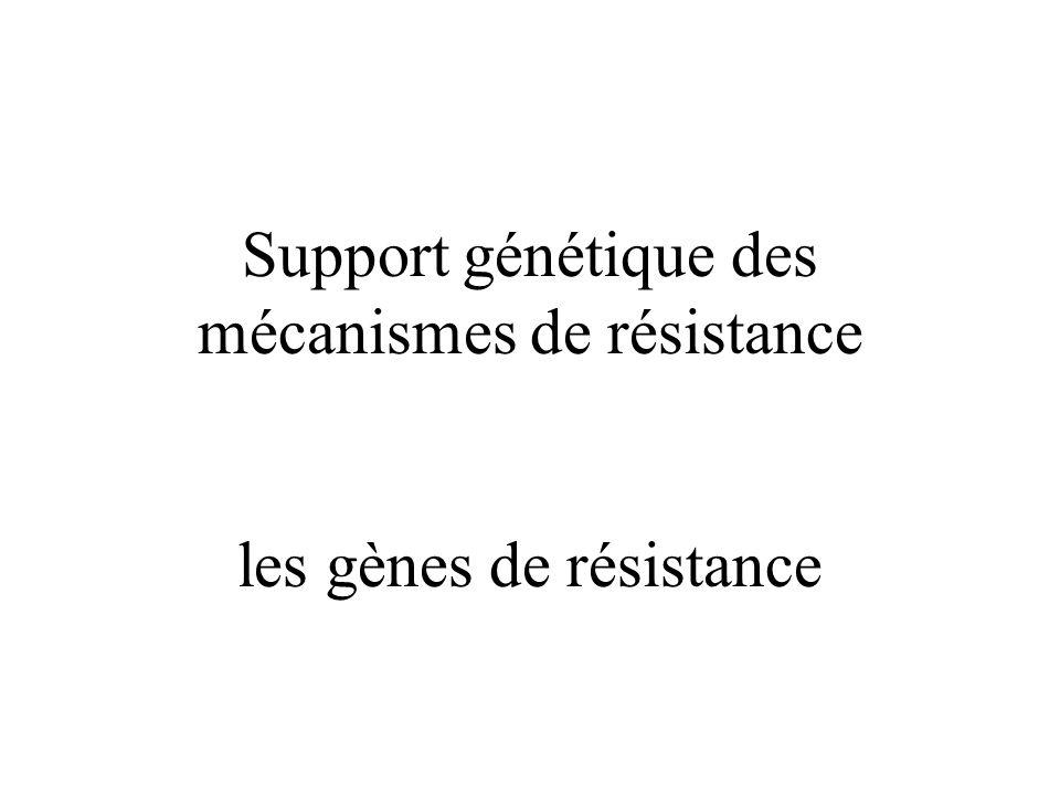 Support génétique des mécanismes de résistance les gènes de résistance